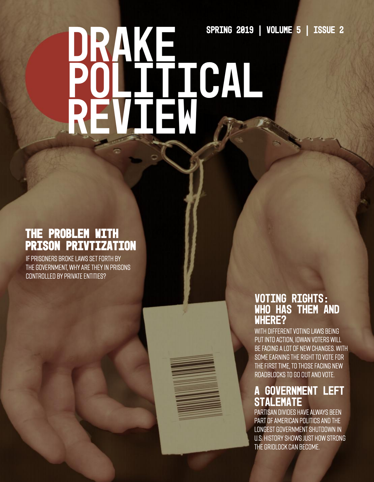 Cover of Drake Political Review, Spring 2019